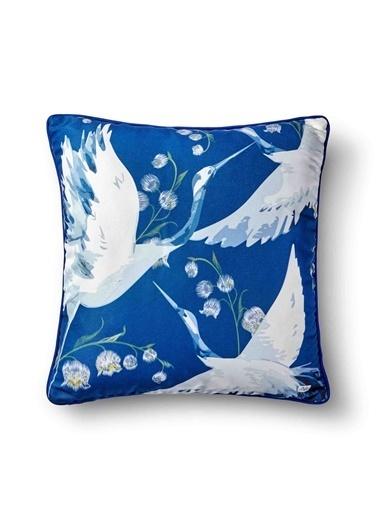 The Mia Leylek Yastık - Koyu Mavi 50 x 50cm Mavi